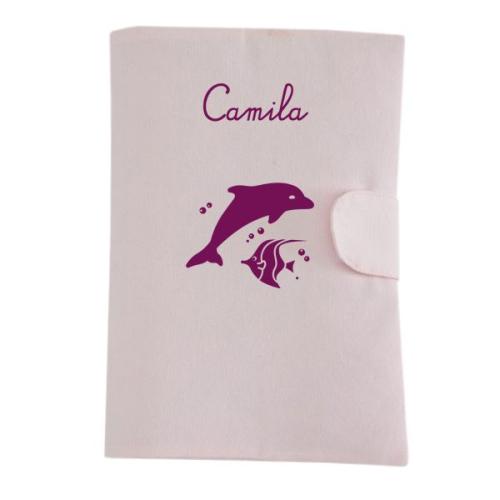 Carpeta medica para bebé con motivo rosa