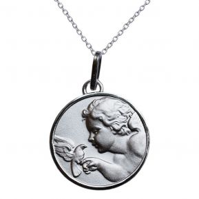 Medalla de ángel con una paloma en plata maciza grabada