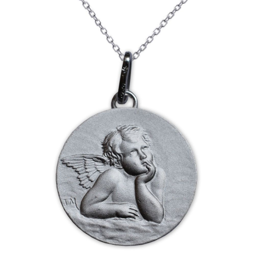 Medalla del Ángel de Rafael en plata maciza grabada