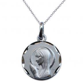 Medalla de la Virgen María en oración en plata grabada
