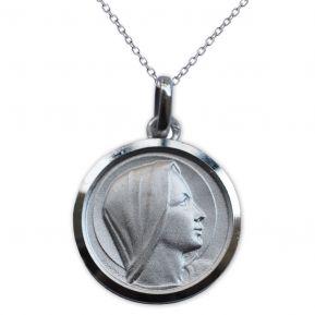 Medalla de la Virgen María de perfil en plata grabada