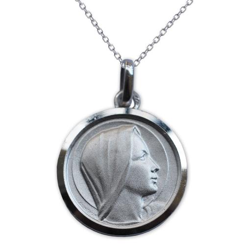Medalla de la Virgen María en plata esterlina grabada