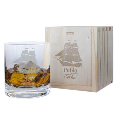 Vaso de whisky personalizado océano abierto