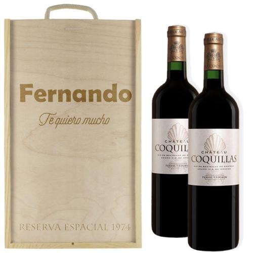 Caja de vino 2 botellas personalizada con un texto