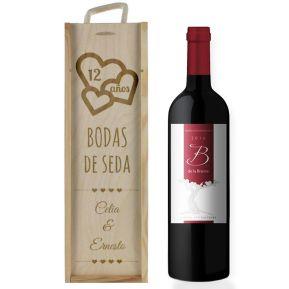 Caja de vino aniversario de bodas personalizada