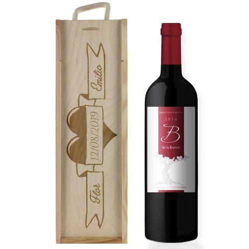 Caja de vino matrimonio personalizada