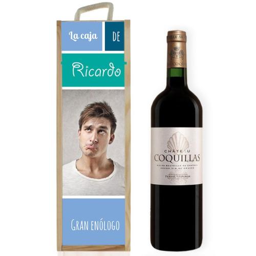 Caja de vino personalizada con foto