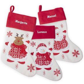 Calcetín de Navidad tejido y en fieltro personalizado