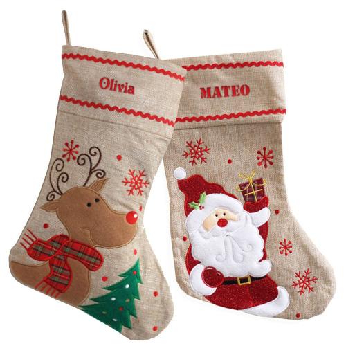 Calcetín de navidad en lino personalizado