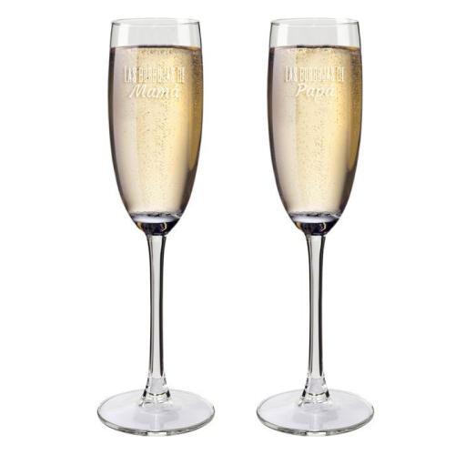 Copas de champaña mamá y papá personalizadas