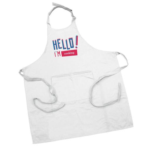 Delantal blanco en coton personalizado HELLO