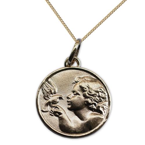 Medalla de ángel con paloma chapada en oro