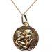 Medalla de bautismo del Ángel de Rafael chapada en oro
