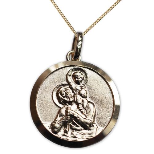 Medalla de San Cristóbal chapada en oro grabada