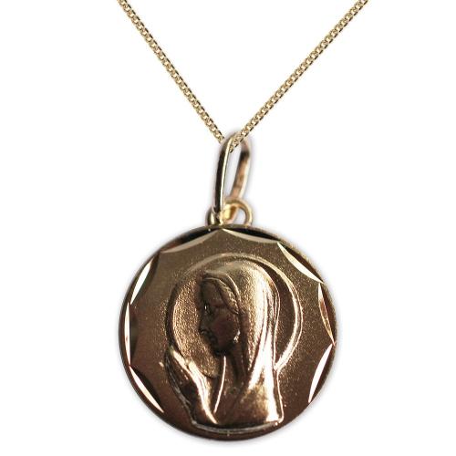 Medalla de la Virgen María de la Oración grabada en oro