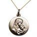 Medalla virgen chapada en oro con el niño grabada