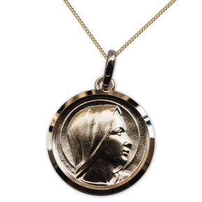 Medalla de la Virgen María chapada en oro