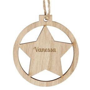 Adorno navideño de madera personalizado Estrella