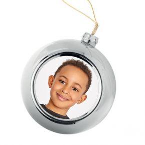 Bola de Navidad personalizada con una foto Plateada