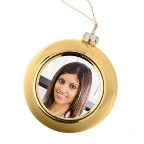 Bola de Navidad dorada personalizada con una foto