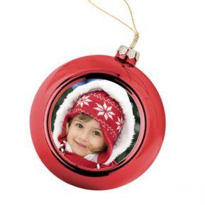 Bola de Navidad roja personalizada con foto