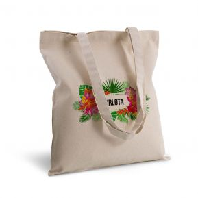 Bolsa de algodón personalizada con flores exoticas