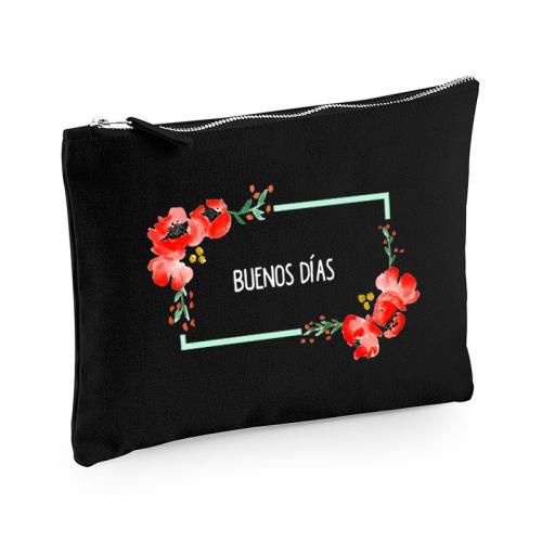 Bolsa multi-usos negro flores en acuarela