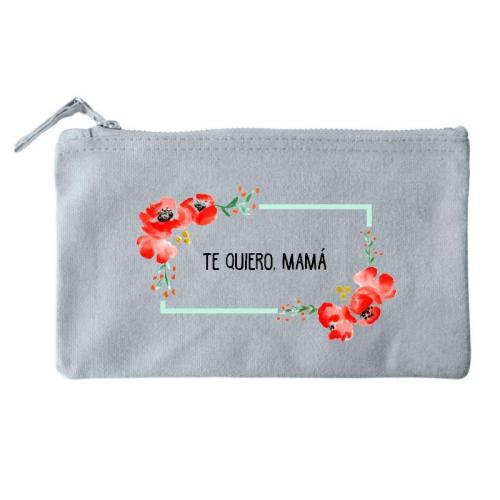 Bolsa pequeña personalizada flores en acuarela gris