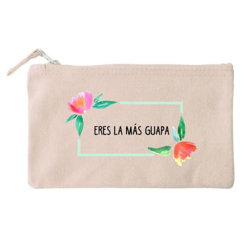 Bolsa pequeña personalizada flores en acuarela natural