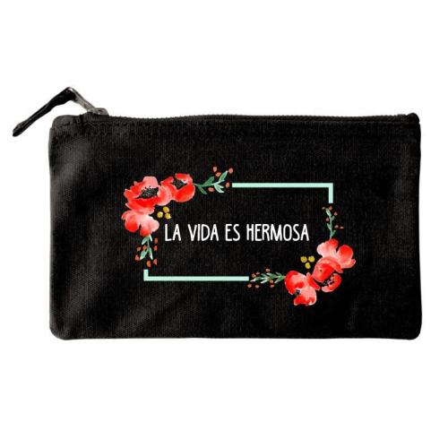 Bolsa pequeña personalizada flores en acuarela negro