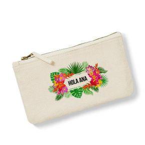 Bolsa pequeña personalizada con flores exoticas
