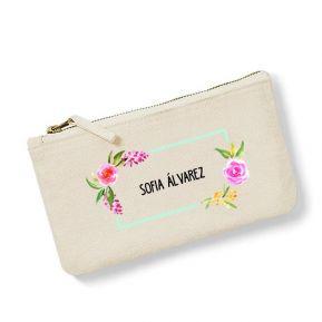Bolsa pequeña personalizada flores en acuarela