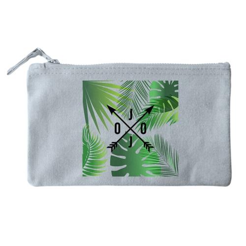 Bolsa pequeña personalizada palmeras y flechas gris