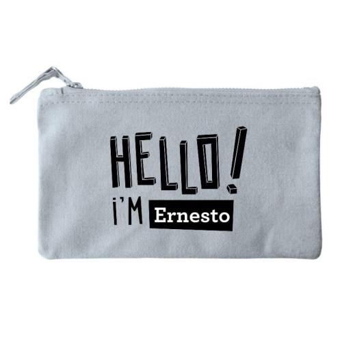 Bolsa pequeña personalizada HELLO gris