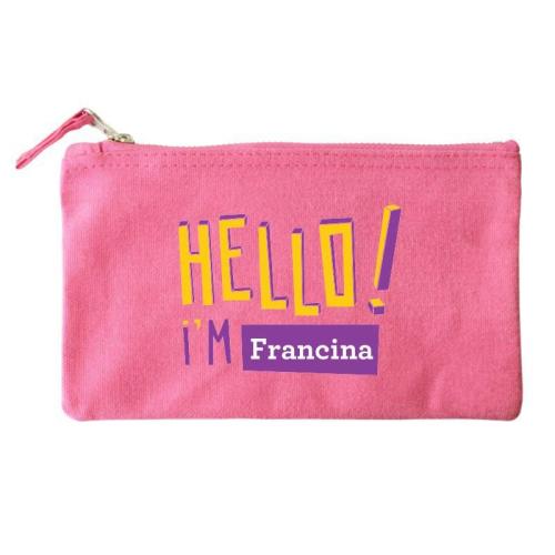 Bolsa pequeña personalizada HELLO rosa