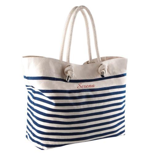 Bolsa de playa marinera azul