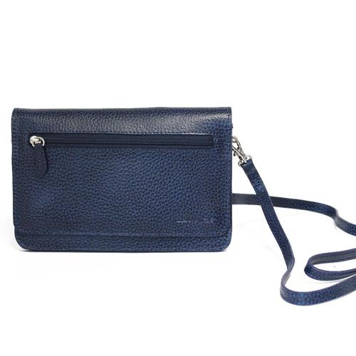bolso de mano planeta en cuero color azul marino