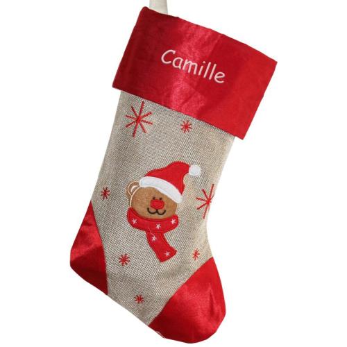 Bota navideña en lino y satín personalizada