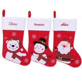 Calcetín de Navidad de fieltro rojo con nombre bordado