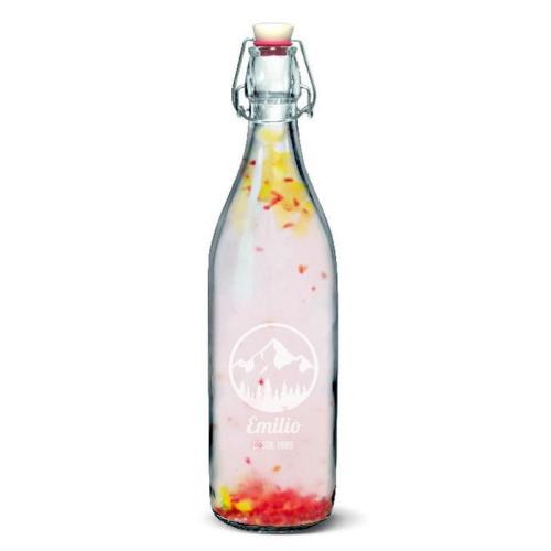 Botella personalizada en vidrio con tapón mecánico
