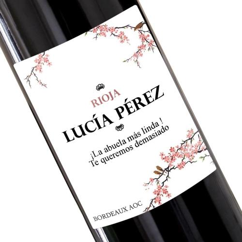 Botella de vino personalizada Cereza para su abuela