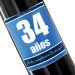 Botella de vino personalizada cumpleaños azul