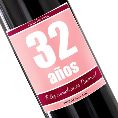 Botella de vino personalizada cumpleaños rosa
