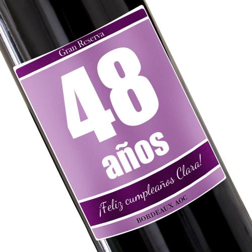 Botella de vino personalizada cumpleaños violeta
