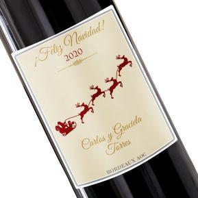 Botella de vino personalizada Navidad