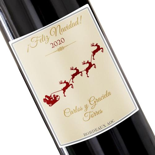 Botella de vino de Navidad