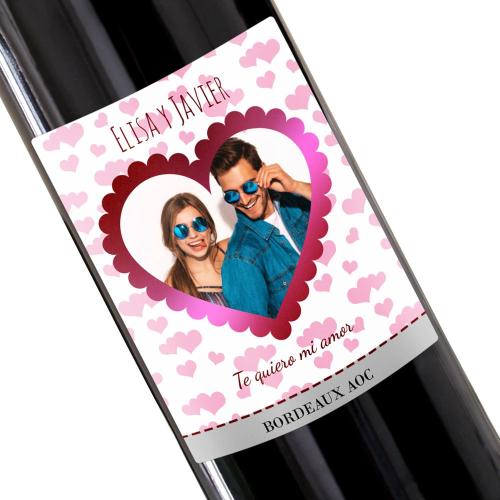 Botella de vino personalizada Corazón foto