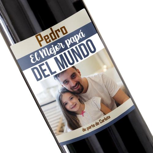 Botella de vino personalizada Papa foto