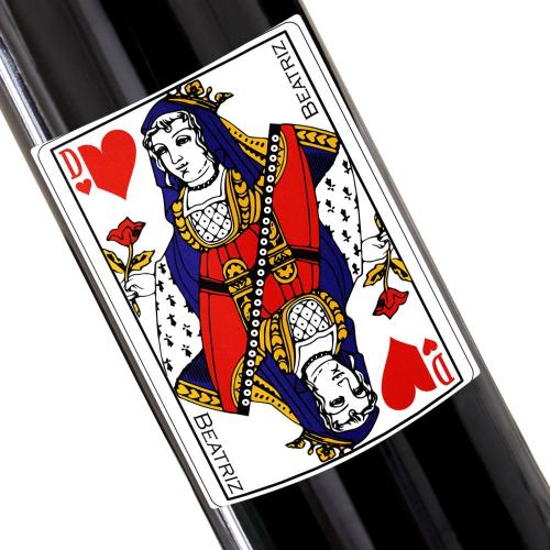 Botella de vino personalizada juego de cartas
