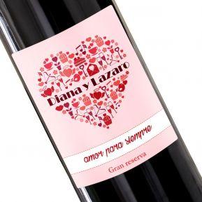 Botella de vino personalizada Corazón